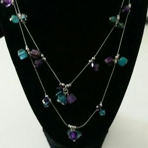 Two silvertone chain beaded necklace